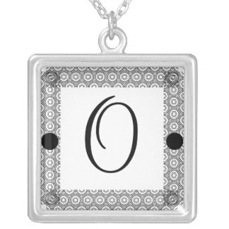 Monogram O Square Pendant Necklace