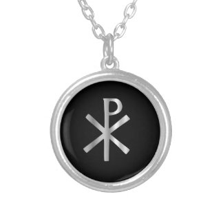 Monogram of Christ - chi rho Round Pendant Necklace