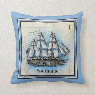 Monogram Old Ship Vintage Blue Nautical Compass Throw Pillow
