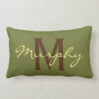 Monogram Olive Green Kahki Name Accent Pillow