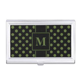 Monogram Olive Green Polka Dot on Black Business Card Holder