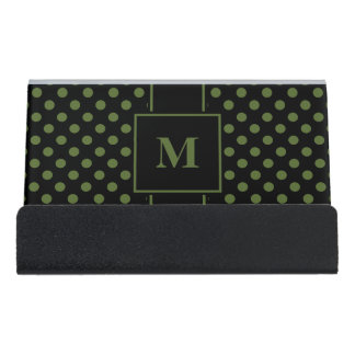 Monogram Olive Green Polka Dot on Black Desk Business Card Holder