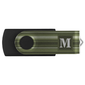 Monogram olive green stripes USB flash drive