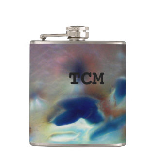 Monogram on abstract marble blue purple grey hip flask