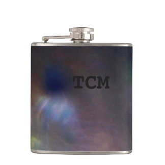 Monogram on abstract marble blue purple red flask