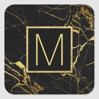 monogram on black and gold marble square sticker