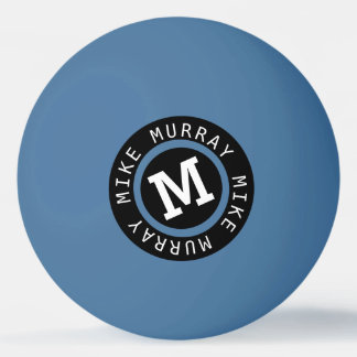 monogram on blue ping pong ball
