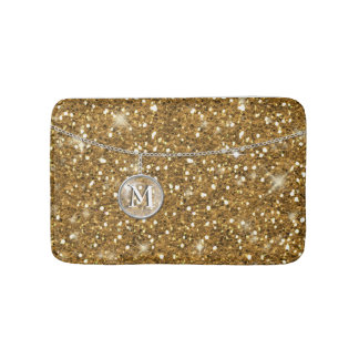 Monogram on Chain Gold Glitter ID145 Bath Mat