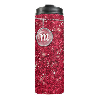 Monogram on Chain Red Glitter ID145 Thermal Tumbler