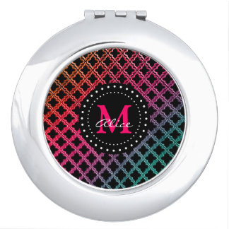 Monogram on Colorful Quatrefoil Pattern Compact Mirrors