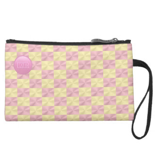 Monogram on faux, shiny rose pink and gold pattern suede wristlet