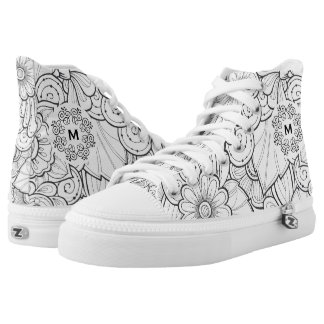 Monogram on  Floral Doodle. Printed Shoes