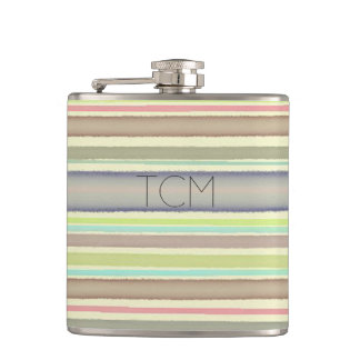 Monogram on hand painted watercolor stripes flasks