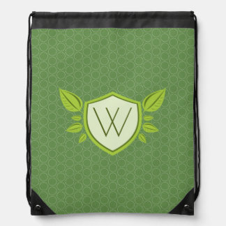 Monogram on Leaf Shield | Drawstring bag