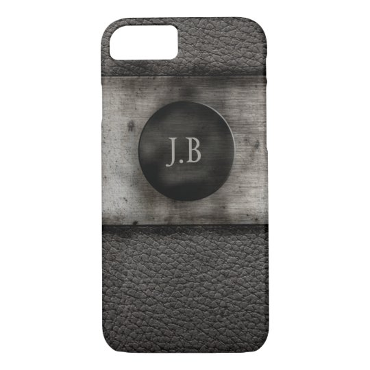Monogram on Leather and rusted metal iPhone 8/7
