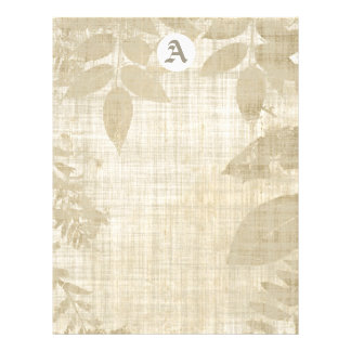 Monogram On Leaves And Linen Look Paper Flyer