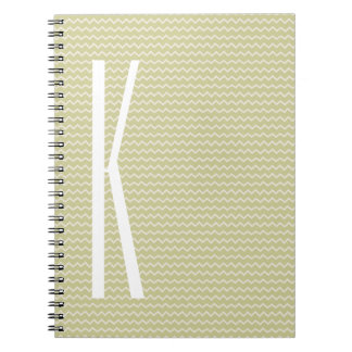 Monogram on Light Sage Green Mini Chevron Spiral Notebook