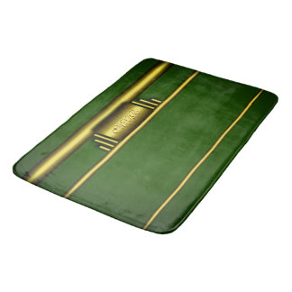 Monogram on luxury art deco effect and green bath mat