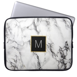 monogram on marble computer sleeve