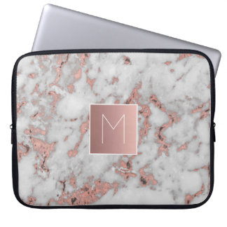 monogram on marble stone laptop sleeve