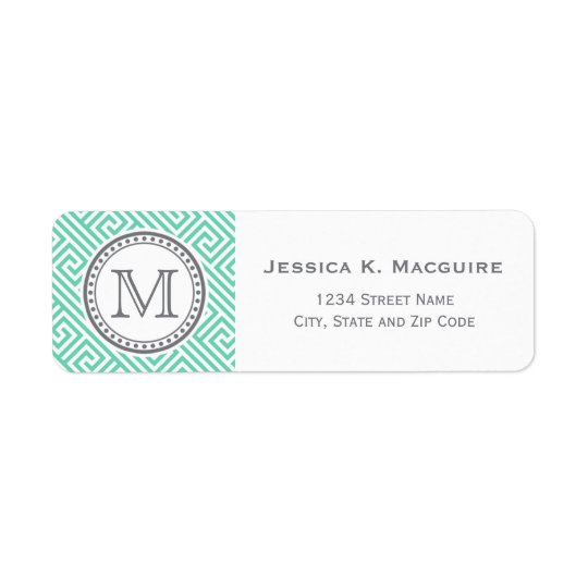 Monogram on Mint Green Greek Key Pattern
