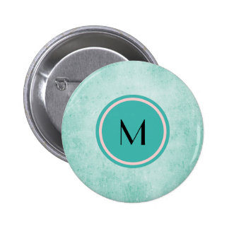 Monogram on Mint Green Vintage paper texture 6 Cm Round Badge