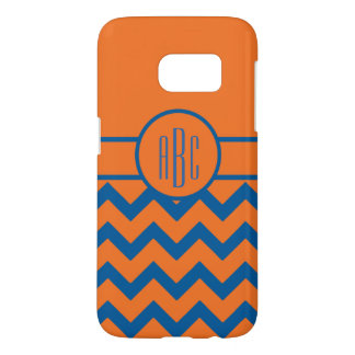 Monogram on Orange and Blue
