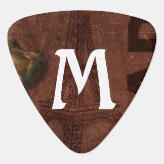 Monogram on Paris Grunge Guitar Pick
