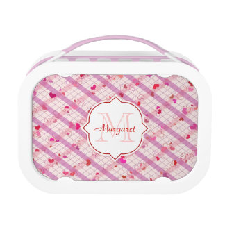 Monogram on Pink  Hearts pattern Lunch Box