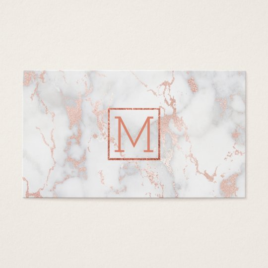 monogram on pink marble business card