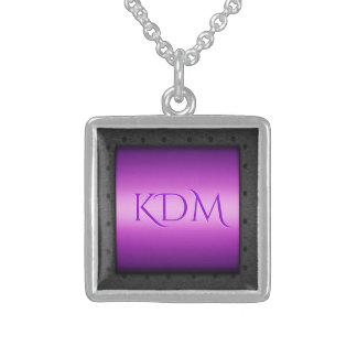 Monogram on Purple Chrome, riveted steel frame Sterling Silver Necklace