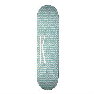 Monogram on Retro Blue Mini Chevron Pattern Skateboard