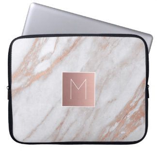 monogram on rose gold marble stone laptop sleeve