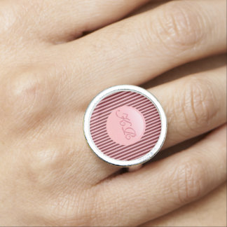 Monogram on rose pink disk and maroon stripes ring