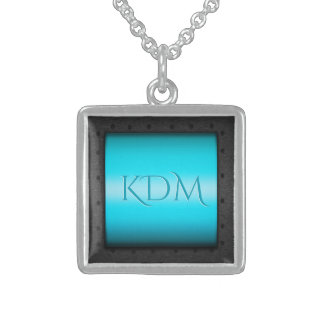Monogram on Sky Blue Chrome, riveted steel frame Sterling Silver Necklace