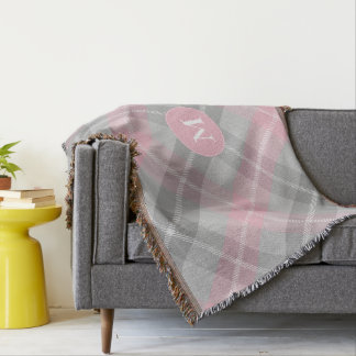 monogram on soft pink and gray classic plaid