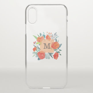 Monogram on Watercolor Flowers iPhone X Case