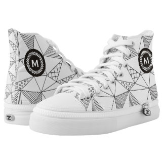 Monogram on Wheat Laurel Wreath. Geometric Pattern Printed Shoes