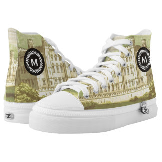 Monogram on Wheat Laurel Wreath. Vintage Castle. Printed Shoes
