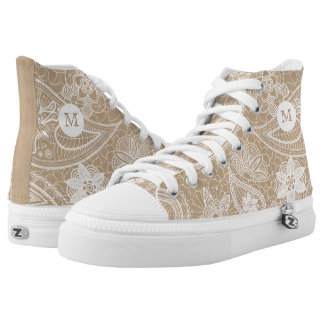 Monogram on White Lace. High Tops