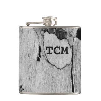 Monogram on wood black and white flasks