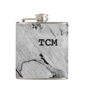 Monogram on wood black and white hip flask