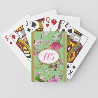 Monogram or Custom Text  Pink Flowers Playing Cards