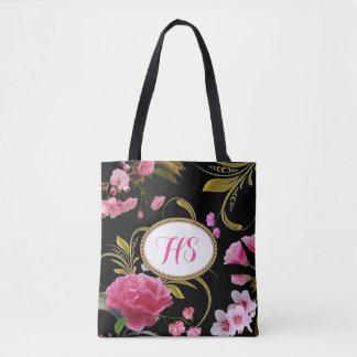 Monogram or Custom Text  Pink Flowers Tote Bag