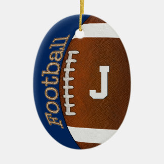 Monogram or Number Football Ornament, Your Colors Christmas Ornament