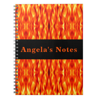 Monogram Orange Abstract Fire Note Book