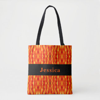 Monogram Orange Abstract Fire Tote Bag