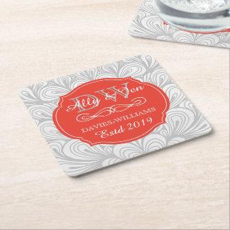 Monogram Orange Abstract Grey Lesbian Gay Wedding Square Paper Coaster