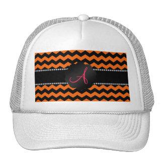 Monogram orange and black chevrons cap