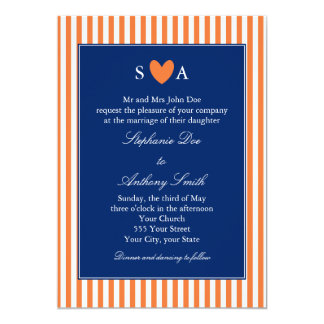 Monogram Orange and White Stripes with Royal Blue 13 Cm X 18 Cm Invitation Card